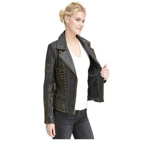 NWOT!! Distressed Leather Moto Jacket